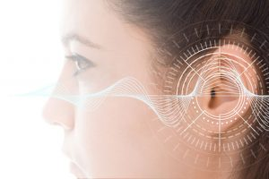 tinnitus ear with soundwaves