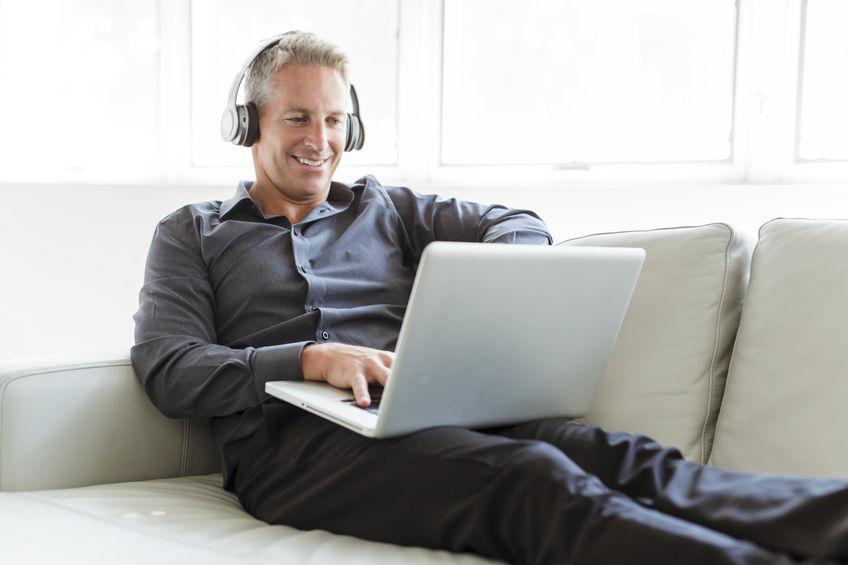 Man taking Online Hearing Test