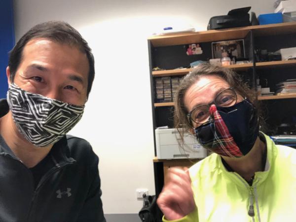 wearing face mask Alpha Hearing 2